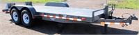 "1999 MacLander Flatbed, 81"" x 18', bumper-pull, steel floor, ramps, dove tail, 2- 7k lb axles (view 1)"