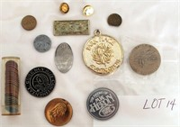Coin Lot 14 -  Coins, Pins, Misc