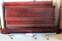Cherry Queen Sleigh Bed Frame, rails and supports