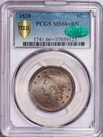 L1C 1838 PCGS MS66+ BN CAC