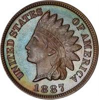 1C 1887 PCGS PR67 BN CAC