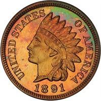 1C 1891 PCGS PR66 RB CAC