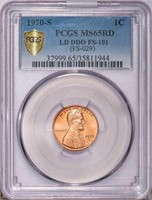 1C 1970-S LARGE DATE. DOUBLE DIE OBV. PCGS MS65 RD