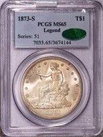 T$1 1873-S TRADE. PCGS MS65 CAC