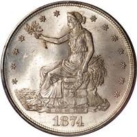 T$1 1874 TRADE. PCGS MS65 CAC