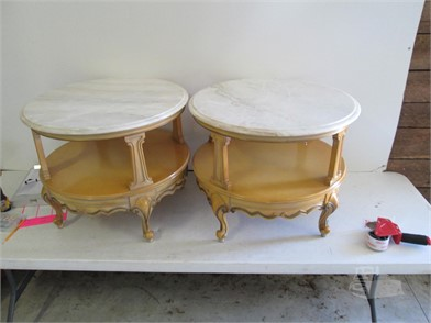 Main Pair Of Round Marble Top Tables Other Items For Sale