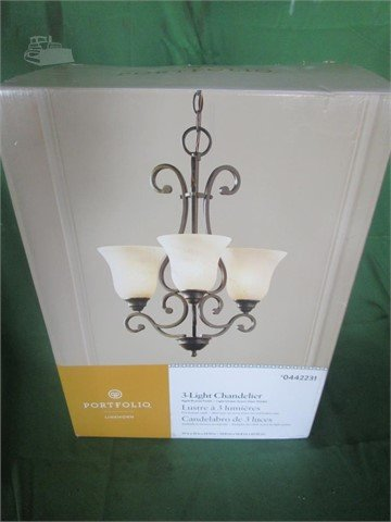 low priced ac226 49472 PORTFOLIO 3 LIGHT CHANDELIER (AGED BRONZE FINISH) For Sale ...