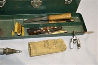 Toolbox with Contents and Assorted Chisels