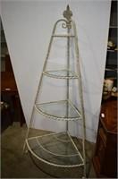 Wrought Iron Corner Shelf with Glass Shelves