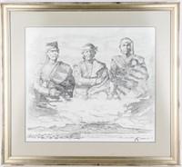 Art Pencil Drawing by Navajo Alvin Marshall