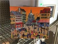 Parisian street scene oil on canvas