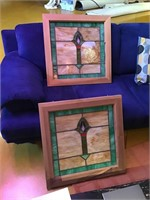Two framed leaded art glass