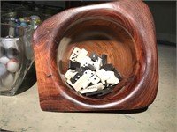 Ornate hand turned wood bowl with mini domino