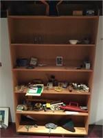 Contents of wooden shelf