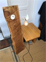 Artist crafted low table and Wood light