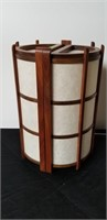 Mid century modern parchment and wood table lamp