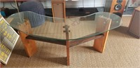 Wood copper and glass desk