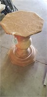 Fabric covered octagon pedestal table