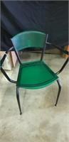 Unusual Italian green plastic and metal chair