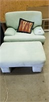 Seafoam green leather oversize arm chair and
