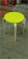 Small neon yellow wood stool