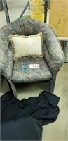Upholstered fabric arm chair