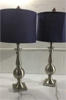 2 Beautiful Silver Metal Lamps w/Blue Shades M11A