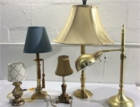 5 Assorted Brass and Wood Lamps M12A