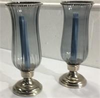 Blue Candlestick Holders w/ Rhinestones M16A