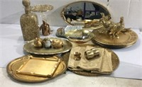 Assorted Gold Colored Trays and Knick Knacks M11B