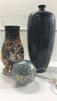 2 Blue Table Glow Lamps and a Blue Vase M12A