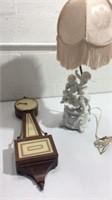 Vintage Cherub Lamp and Wall Clock K15B
