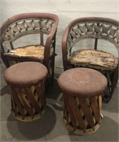 2 Vintage Equipale Leather Chairs w/ Ottomans Q17B