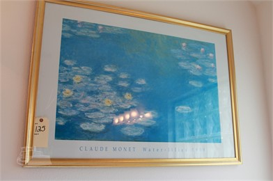 LARGE CLAUDE MONET WATER LILIES PRINT FRAMED Other Items For