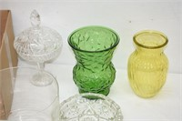 Assorted Wine Glasses, Vases, Candy Dish,