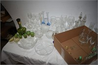 Group of Decanters, Bowls, Plates, Stemware, etc.