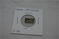 1 Gram .999 Silver Waifer