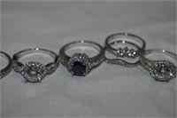 (9) Rings Stamped 925