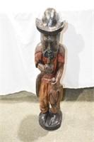 "30"" Carved Wooden Man Smoking Pipe"