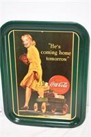 "1991 Coca Cola Tray ""He's Coming Home Tomorrow"""