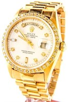 Jewelry Men's 18kt Gold Diamond Rolex Wrist Watch