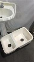 Porcelain Pedestal Sink & Under Mount Sink K11B
