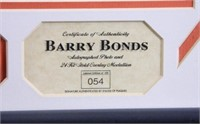 Barry Bonds Photo; COA; #054/250; Highland Mint