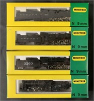 4 Boxed Minitrix N Ga Steam Locomotives