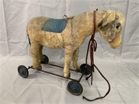 Early Steiff Donkey on Wheels