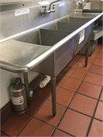 Industrial Stainless Steel w/ 3 Sinks