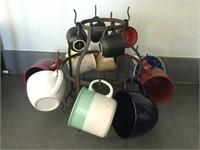 Metal Mug Rack with Coffee Mugs