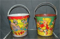 Tin Lithographed Sand Pail Lot