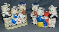 (2) Bisque Three Little Pigs Toothbrush Holders