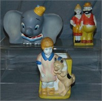 (3) Bisque Character Toothbrush Holders